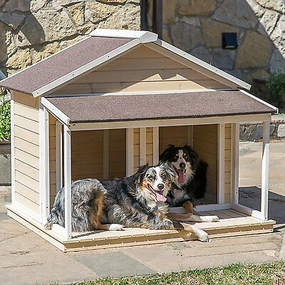 Duplex Dog House Extra Large Or Two Dogs Big Insulated Antique Pet Porch Roof