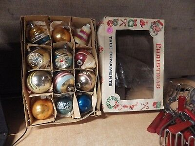 Lot Of 12 Vintage Glass Shiny Brite Christmas Ornaments In Box Indents Bells