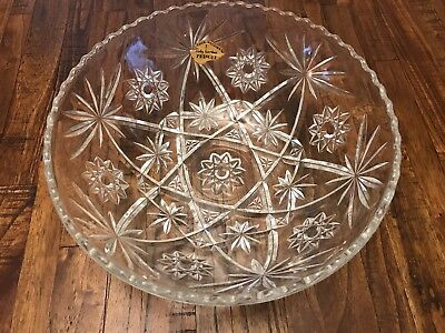 RARE Anchor Hocking Glass EAPC STAR DAVID Early American Prescut Scalloped Bowl