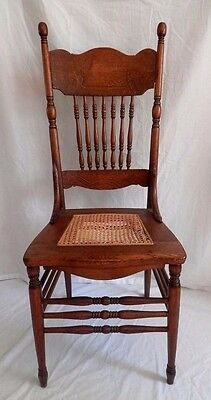 Antique Oak Wood Chair Press Back Ornate Cane Seat Dining