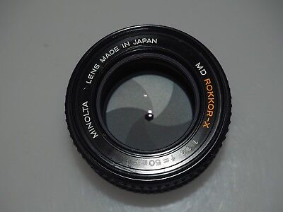 MINOLTA ROKKOR-X 50mm f1.4 Lens MD Mount With front and rear lens caps, clean!