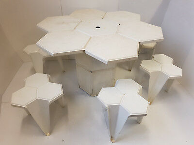 Table & Stools Of Picnic Jardin Ed. Jasp 1970 Space Age Pop Vintage 70's