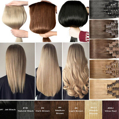 Full Head 100% Russian Human Remy Clip in Hair Extensions Straight Long 22 UK117