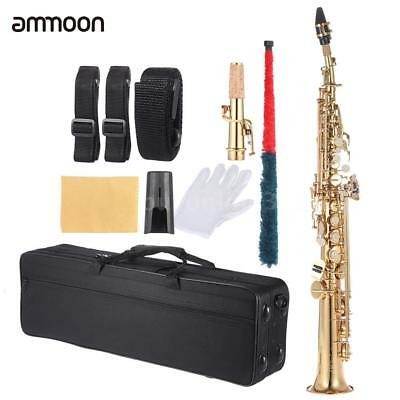 Gold Brass Straight Soprano Sax Saxophone Bb B Flat with Case Gloves Straps W8J7