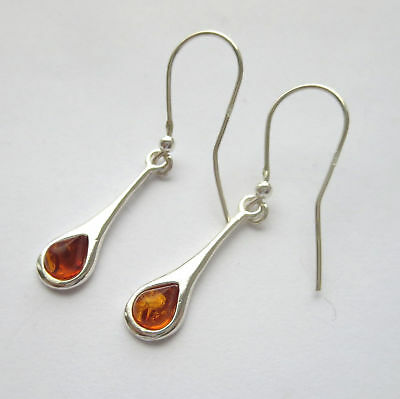 """Natural Baltic Amber Earrings Sterling Silver 925 - 1 3/4 """""""