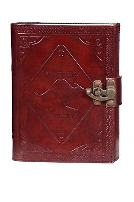Handmade Brown Leather Journal Blank Book Dairy With Brass Buckle and Strap
