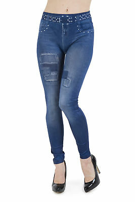 Girls Leggings Denim Jeans With Faux Belt Jeggings Childrens Fashion Ages 8 - 16