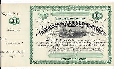 International & Great Northern Railroad Co.....1870's Unissued Stock Certificate