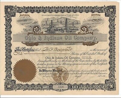 Ohio & Indiana Oil Company.....early 1900's Unissued Common Stock Certificate
