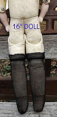 """Antique 7"""" Bisque Doll Stockings Black Rayon Open Weave DOLL HOSE SOCKS"""