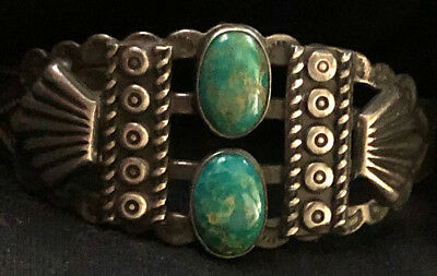 Navajo Fred Harvey Period Gorgeous Natural Cerrillos Turquoise Bracelet Handmade