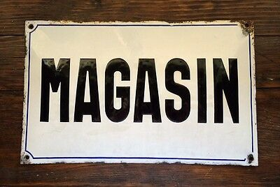 Large Vintage French White Enamel Sign with Black Lettering for STORE ~ MAGASIN