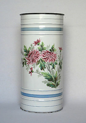 Large Vintage French Enamel Hand Painted Umbrella Stand White & Floral Bouquet