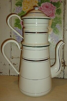 Large Antique Classic French Enamel Biggin Coffee Pot ~ Cream with Gold Bands