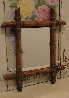 Charming Classic Antique Vintage French Faux Bamboo Design Wall Mirror
