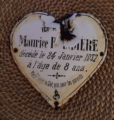 Antique Vintage French Enameled Heart Shaped Memorial Plaque Dated 1937