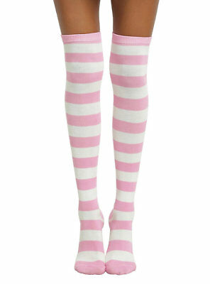 Pink and White Striped Over the Knee Socks Costume Thigh-High Ladies Costume