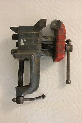 Vintage Bench Small Vice Anvil Clamp Cast Iron Table Mount Jewelry Tool U.S.A.