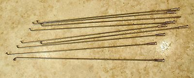 "VTG NOS-9 STEEL BICYCLE SPOKES + 8 CHROME NIPPLES, 9¾"", .077""/1.95mm DIAMETER"