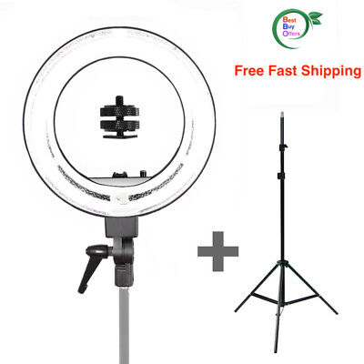 """Bright 18"""" Dimmable Photo Video Continuous Ring Light Kit Stand with Carry Bag"""