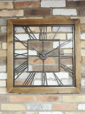 Large Rustic industrial style metal wall clock wood frame 71 cm wide