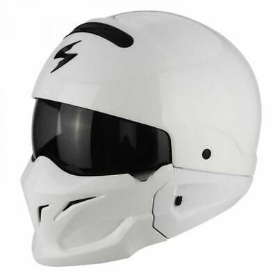 Scorpion Exo Combat / Covert Open Face / Full Face Motorcycle Helmet - White
