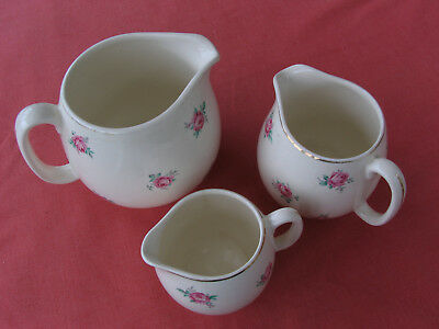 Set Of 3 Varying Size Jugs With Rosebud Design Vintage Tea Party