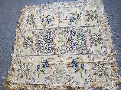 """Tapestry Tablecloth Woven Fringe Italian Vintage Crusader on Horse 48"""" x 50"""""""