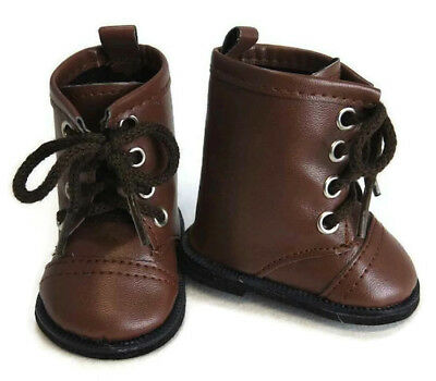 """LT BROWN LaceUp Lace Up Boots Doll Shoes Made For 18/"""" American Girl Dolls Debs"""