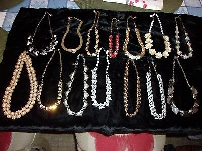 Lot of 14 Vintage to Modern NECKLACES ~ Lisner, Coro, Art II, Napier