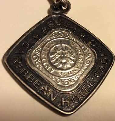 Vintage Sterling Silver Aruba Hotel & Casino Keychain Made w Real Coin