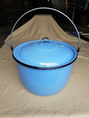 Vintage Blue Porcelain Enamel Stock Pot Bail Handle Lid Cookware Tamale Soup