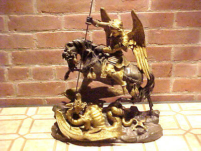 Bronze Gilded Figure,19 Century Saint George Slaying The Dragon On His Horse