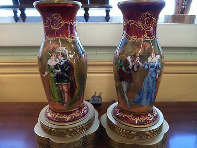 1800's AMAZING Pair Antique French Limoges Lamps BEAUTIFULLY hand painted SIGNED