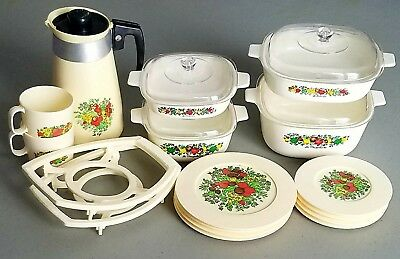 Vintage Corning Ware Child's Plastic Spice Of Life Play Dish Set 22 Pieces