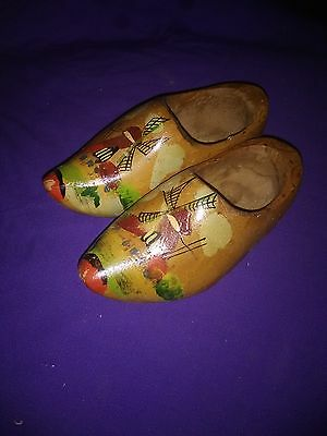 Pair of Vintage  ANTIQUE  Mini Dutch Hand carved Wooden Shoes Made in Holland