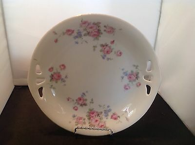 Vintage Roman V Germany Serving Plate With Handles Floral Pink Flowers