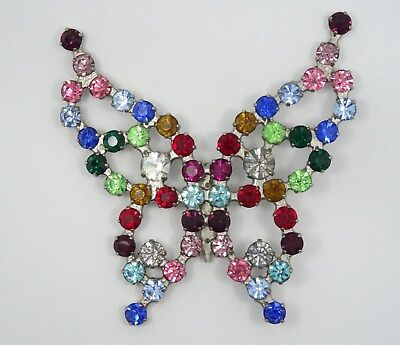 """Vintage Multicolor Crystal Rhinestone Jeweled Large Butterfly Brooch Pin ~ 3.75"""""""