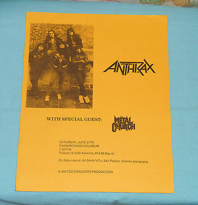 vintage original ANTHRAX FLYER with special guest METAL CHURCH