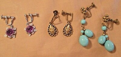 MIX LOT of VICTORIAN EARRINGS ~ SILVER & AMETHYST, GILT WASH & BLUE GLASS BEADS