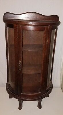Vintage Wood Curio Cabinet Curved Glass Wall or Tabletop Miniature Display