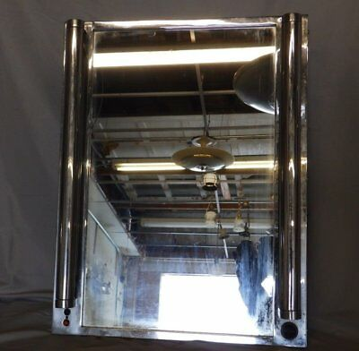 Antique Art Deco Recessed Medicine Cabinet Chrome Fluorescents Vtg 120-18P
