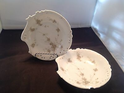 Antique Pair RC Savoy Germany Porcelain Candy Dish Dainty Flowers Shell Shape