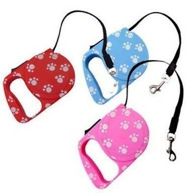Retractable Dog Lead 3m long Paw Print - Puppy/Cat/Rabbit/Walk - Pink/Blue/Red