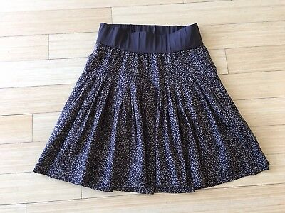 Womens GAP MATERNITY Brown Stretch Full Pleated Skirt Cotton Lined Sz S Small
