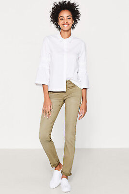NEW Esprit Womens Soft stretch trousers with washed effects LIGHT KHAKI