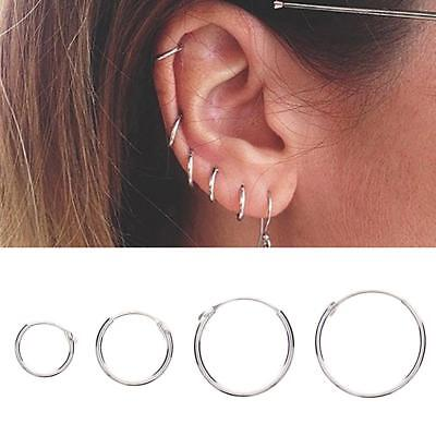 Charm 925 Sterling Silver Circle Round Ear Hoop Earrings Allergy Jewelry SS