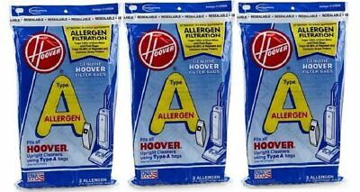 Pack of 3 Hoover Type A Allergen Filter Filtration Bags 4010100A - Bag of 3