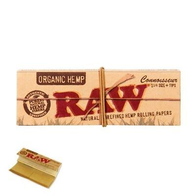 RAW Organic Hemp Connoisseur 1.25 Size Rolling Paper - 1 PACK - Papers + Tips