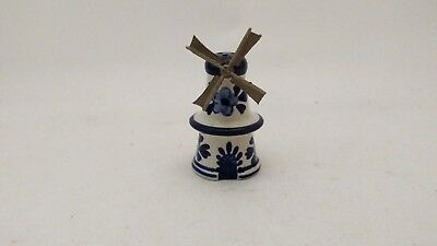 Hand Painted Delft Holland Blue Blauw & White Windmill Salt or Pepper Shaker